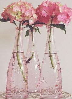 Pink Hydrangeas, in pretty pink, glass bottles