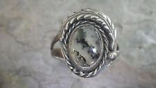 925 Sterling Silver Navajo Feather Wrapped Gemstone Ring (Size 9) #504