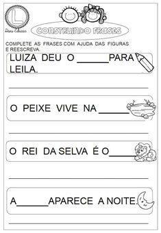 Atividades com frases Bible Lessons, Professor, Classroom, How To Plan, Education, Math, Show, Gabriel, Letter P Activities