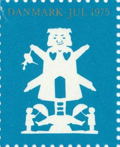 Danish Christmas seal 1975 with paper cut with a white mill, a ballerina and two Sandmen cut by the Danish fairytale writer H.C. Andersen