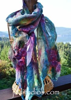 Plum Roses on Turquoise, hand-painted nuno felted with fine merino wool and silk Nuno Felt Scarf, Felted Scarf, Nuno Felting, Silk Painting, Silk Scarves, Wearable Art, Fiber Art, Wool Felt, Scarf Wrap