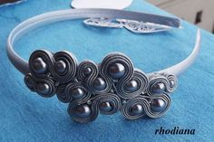 Items similar to Silver Grey Soutache Headband on Etsy Soutache Tutorial, Soutache Jewelry, Jewelry Crafts, Headbands, Jewelery, Arts And Crafts, Hair Accessories, Cream, Trending Outfits