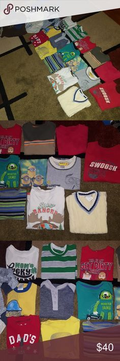 Boy's 2T 19 shirt bundle Boys all size 2T 19 shirt bundle, three are hooded shirts, 1 sweater vest, 1 thermal, one sleeveless shirt two shirts I know have tiny faint hardly noticeable fabric softener stains but the rest are in good preowned condition.   Check out my other listings, baby girl, boys 2T and 3T and Bebe items.  I now offer 20% discount on three or more items purchased. Shirts & Tops