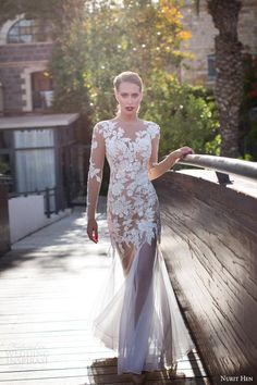 Nurit Hen #bridal summer 2014 collection: illusion long sleeve sheath #wedding dress #weddingdress #weddinggown