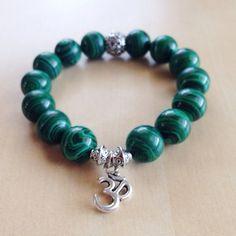 Malachite Beaded Bracelet  Stackable Striped by BlueButtonBaubles, $24.00