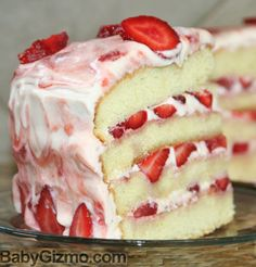 Vanilla Cake with Real Strawberry Cream Cheese Frosting #scratch #recipe #LorAnnValentine