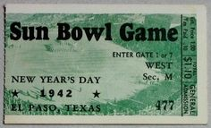 1942 Sun Bowl Game Ticket Stub Tulsa Texas Tech....if you like this you can find many more college bowl game tickets for sale at.....www.everythingcollectibles.biz