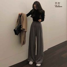 """""""Super warm"""" Solid Wide Leg Pants - """"Super warm"""" Solid Wide Leg Pants – Pink au Lace Best Picture For fashion outfits For Your - Korean Outfits, Mode Outfits, Retro Outfits, Cute Casual Outfits, Fall Outfits, Vintage Outfits, Fashion Outfits, 90s Fashion, Vintage Pants"""