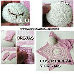 Mantas de apego para bebe con base de estrella 5 puntas / Tutoriales   Crochet y Dos agujas