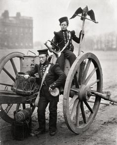 Trumpeter's George Gritten and W. Lang with a Russian eagle flagstaff, which was brought back to England as a war trophy, 1856
