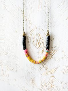 black snake and vinyl bead necklace