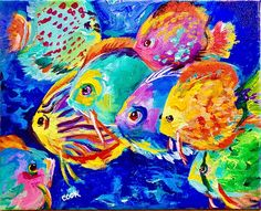 Colorful Fish Acrylic Painting Tutorial for Beginner and Advanced Artists with Ginger Cook Cute Canvas Paintings, Canvas Painting Tutorials, Bee Painting, Turtle Painting, River Fish, Watercolor Water, Water Art, Exotic Fish, Colorful Fish