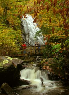 Crabtree Falls along the Blue Ridge Parkway in North Carolina - a beautiful fall hike