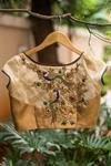 Gold dotted brocade bustier blouse wt sheer sleeves + back wt zardosi appliqué