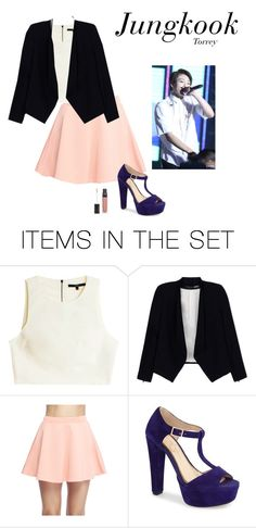 """""""Outfit when you are MC of big award and will deliver the prize to the BTS (you're girlfriend of them) JK"""" by bts-outfit-imagine ❤ liked on Polyvore featuring art, simple, kpop, korean, bts and jungkook"""
