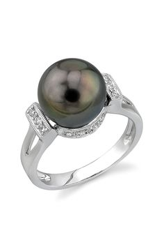 14K White Gold 10mm Tahitian South Sea Pearl & Diamond Ring on HauteLook