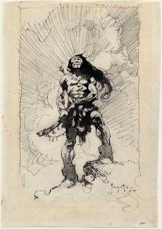 Frank Frazetta pen and ink