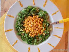 Green chickpea salad with lemony tahini turmeric dressing