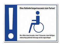 Warnschild Behindertenparkplatz - A4-Format aus Aluminium - Hausnummern und Schilder online kaufen