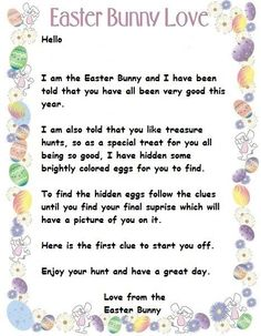 A Note From The Easter Bunny Saying That He Has Hidden Some Eggs
