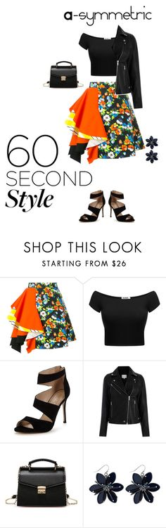 """A-symmetric Style!"" by amymo103 ❤ liked on Polyvore featuring MSGM, Carvela, asymmetricskirts and 60secondstyle"