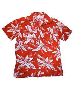 Vintage 80s Red/White Hawaiian Shirt Mens Size Medium $30.00