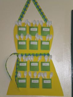 Recipe for Success Theme Apron job chart - pockets are labeled with classroom jobs for our students. Classroom Jobs, Classroom Setting, Classroom Setup, Classroom Organization, Classroom Management, Classroom Schedule, Classroom Environment, Cooking In The Classroom, Classroom Ideas