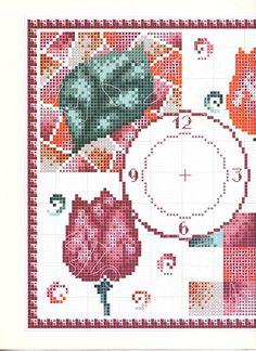 Schema punto croce Orologio Tulipani3