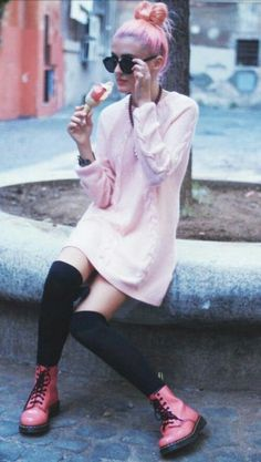 pastel goth meets soft grunge fashion. Those pink docs are ACE!