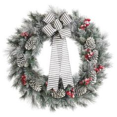 Home Accents Holiday 30 in. Snowy Pine Artificial Wreath with Pinecones and Berries 2314620HD at The Home Depot - Mobile