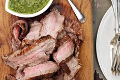 Grilled flank steak with quick green sauce – Recipes – Bite
