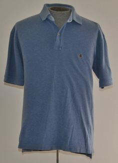 Men's Size Large Tommy Hilfiger Blue 100% Cotton Golf Polo Shirt Short Sleeve