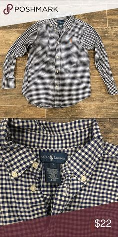 Ralph Lauren blue checkered long sleeve buttondown Ralph Lauren blue checkered long sleeve button down. Boys size 7.  Worn and washed. Lots of life left. Excellent Condition! Ralph Lauren Shirts & Tops Button Down Shirts