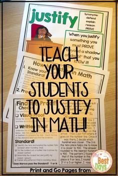 Are you looking for an easy way to teach students to justify in math? This print and go product will help you do just this! The poster gives a definition for justifying. The How to Justify in Math is for student notebooks. It can also be used as a pos
