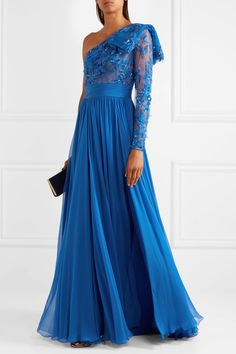 Zuhair Murad | One-shoulder embellished tulle and silk-blend chiffon gown | NET-A-PORTER.COM
