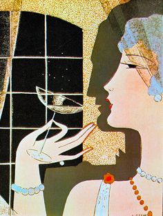 Twenties cocktails illustration by M. Gerard. 1920's. From Art Deco Posters & Graphics by Jean Dellhaye (1977) (please follow minkshmink on pinterest) #flapper #twenties #dancing #nightclub #cocktails #champagne