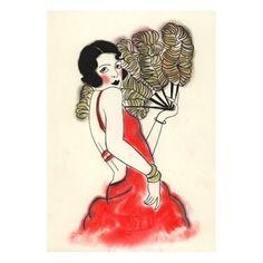 Art Deco art print. Charlotte   8.3 X 11.7 print by matouenpeluche
