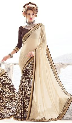 Accentuate your beautiful self with this beige and chocolate color georgette silk printed sari. This attire is well designed with lace and printed work. Upon request we can make round front/back neck and short 6 inches sleeves regular saree blouse also. #latesthalfnhalfsaree #floralprintsaris #blockprintsarees