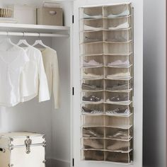 Don't sweat your small space. This smart storage solution features room for 13 pairs of shoes, and its durable hooks hang over the door to help keep your room tidy and clutter-free. Pottery Barn Teen Recycled Over-the-Door Shoe Storage Dorm Closet Organization, Dorm Room Storage, Bedside Storage, Kitchen Storage, Smart Storage, Shoe Storage, Storage Baskets, Hanging Shoe Rack, Hanging Closet Organizer