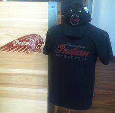 Men's Black T-Shirt w/ Indian logo * Black Indian Baseball Cap