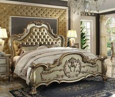 Traditional Style Master Bedroom Set Available In Gold Patina Finish With  Crystal Tufted Leather Headboard Cushion. This Bedroom Furniture Includes  Queen ...