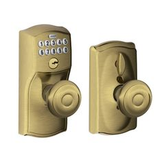 Camelot Keypad Entry with Flex-Lock and Georgian Style Knobs, Antique Brass