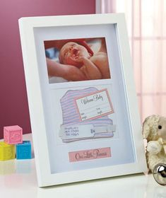 "Baby Memories Keepsake Frames let you create a charming display of the special moments in your new baby's life. The Baby Bump Frame shows off the ultrasound picture within a silhouette of an expectant mother. The silvertone metal frame holds a 3"" x 3"" photo. It has an easel back to display on a table or desk. Baby's very first keepsakes, like the hospital bracelet and hat, can now be cherished forever in the wooden Baby Memento Shadowbox. http://heartsandwings.webs.com/memories"