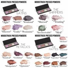 Pressed shadows broken down by finish #younique. Visit www.youniqueproducts.com/michellewarfield