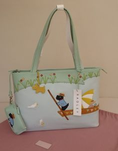 """Radley Large Signature/Picture Bag & Coin Purse - """"Punting on the Cam on a Summer's day"""" Radley Handbags, Radley Bags, Penny Black Stamps, Dog Fashion, I Love To Laugh, Grab Bags, Scottie, Hand Bags, Paddle"""