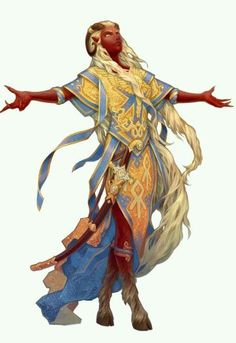 This is a gorgeous Tiefling cleric of Sarenrae. In particular, the sharp-clawed hands and the sense of reverence appeal.