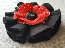 Girls/Toddler Red and Black Bow w/Gem by TwoPurpleThumbs on Etsy