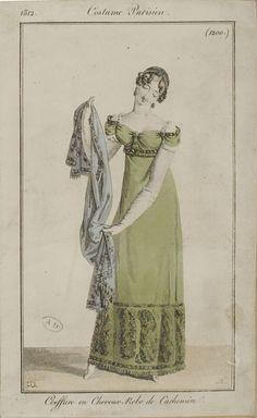 """Costume Parisien, 1812,     From the Bibliothèque des Arts Décoratifs via SceneInThePast flickr.   plate 1200  """"Coeffure en Cheveux. Robe de Cachemire"""""""