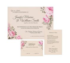Romantic Peonies Wedding Invitation Suite by graystardesign, $3.75