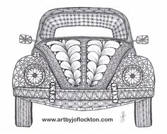 "Tangled VW Bug, $44, 8""x10"" using Ben Kwok's template (Ornation Creation) at www.artbyjoflockt..."